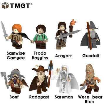 TMGT 20PCS/LOT  Lord of the Rings Samwise Gamgee Frodo Baggins Aragorn Gandalf Radagast Saruman Bricks Children Toys