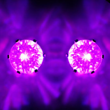 10mm Purple Light-Up LED CZ Stud Earrings | Body Candy Body Jewelry