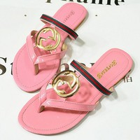 GUCCI Trending Slippers Women Casual Flat Sandal Slipper Shoes(3-Color) Pink