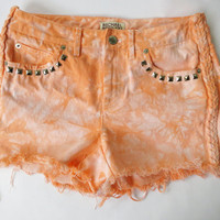 Vintage Michael Kors High Waist Orange Dyed Distressed Studded Denim Cut Off Shorts