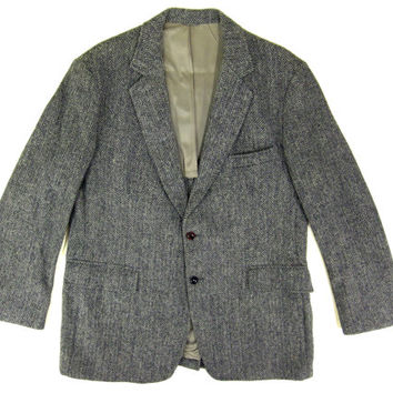Grey Harris Tweed Sport Coat - Blazer, Wool, Gray, Jacket Ivy League Menswear - Men's Size Large Lrg L 44 Long