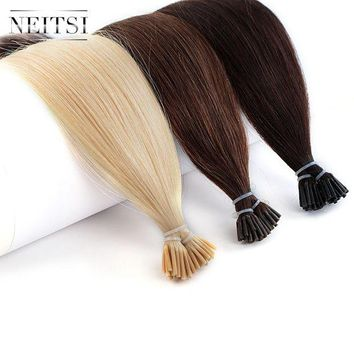 LMF78W Neitsi Human Fusion Hair Straight 2# 6# 24# DIY Each Color 50pcs Brazilian Remy Capsule Hair Stick Tip I Tip Keratin Extensions