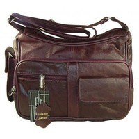 Roma Leathers Wine Red Leather Crossbody Shoulder Bag