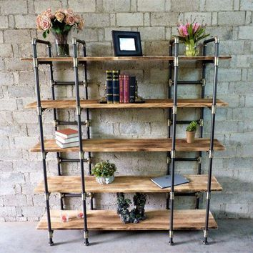 Manhattan Modern Industrial Open Etagere Bookcase (Metal With Reclaimed Wood Finish)