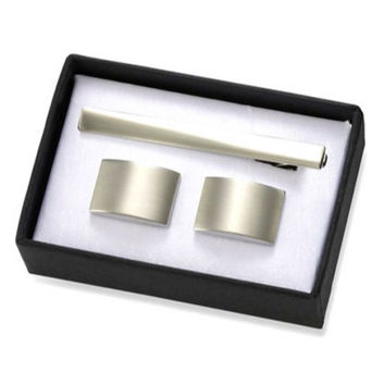 MG Gifts - Brushed Silver Rectangular Brass Cuff Links With Matching Tie Bar In Black Gift Box