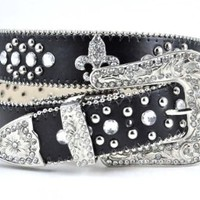Fabulous Fleur Di Lis Rhinestone Western Bling Belt 4 Colors Available (L/XL, Black)