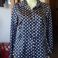 shiny womens blouse white black polka dot top long sleeves top button shirt sz Small 1990s