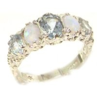 Luxury Ladies Victorian Style Solid Hallmarked Sterling Silver Aquamarine & Opal Band Ring - Size 6.25 - Finger Sizes 5 to 12 Available - Perfect Gift for Mum, Daughter, Grandaughter, Bridesmaids
