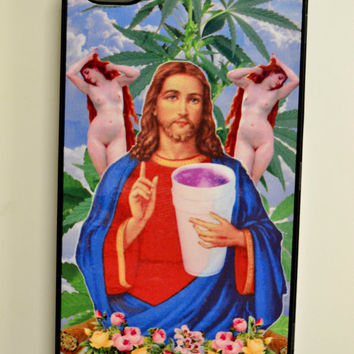 Weed Jesus Sipper Sizzurp grunge drank stoner kawaii virgin mary club kid rave dank 90s tumblr apple iphone 5/5s smart cell phone case