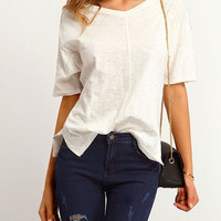 Comfy White Lace Insert Tee