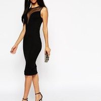 ASOS Mesh Deep Plunge Midi Dress