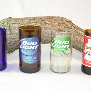 Drinking Glasses Upcycled from Budweiser Beer Bottles, Drinking Glass, Upcycled Beer Bottle, Unique Glassware, ONE Glass