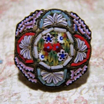 Micro Mosaic Floral Pin, Italian Glass Brooch,  Murano Italy Flower Round Brooch, Venetian Art Deco Jewelry 1017