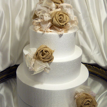 "6"" Burlap Rose Cake Topper with 2 matching clusters, done in ivory tones of sheer, organza, tea stained lace and country burlap."