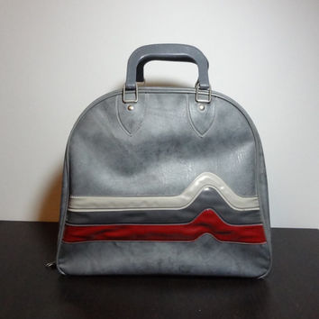 Vintage Retro Grey Marbled Don Carter Bowling Bag/Carry On Luggage with Retro Heartbeat Graphic Design