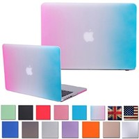 """HDE MacBook Pro 15 Inch Retina Case Hard Shell Cover Rubberized Soft Touch for Mac Notebook 15.4"""" (No CD Drive) Model A1398 (Rainbow)"""