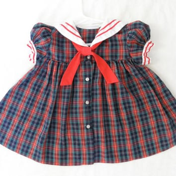 Vintage Plaid Sailor Baby Girl Dress Size 12 Month