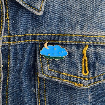 Night sky moon star pins Brooches Pin Hard enamel pins Badges Denim jacket blouse backpack accessories Fashion jewelry