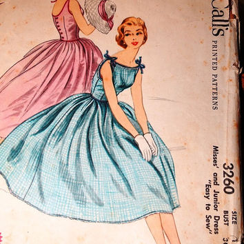 Vintage 1950's McCalls Printed Pattern, Dress, Misses Jr. Dress, Size 12 Bust 30, Prom Dress, Formal Gown, Party Dress, Pattern 3260
