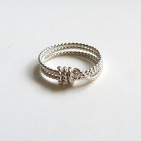 Gold Rope Knot Ring Silver Knot Ring Bridesmaid Jewelry Stacking Ring Tie the knot gift Sailors Knot Jewelry Nautical Best Friend Jewelry