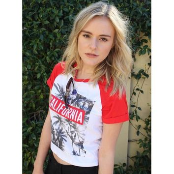 California Palm Print Raglan Tee