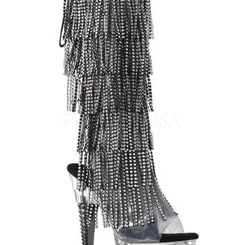 Knee High Stripper Boot-Rhinestone Fringe Boots