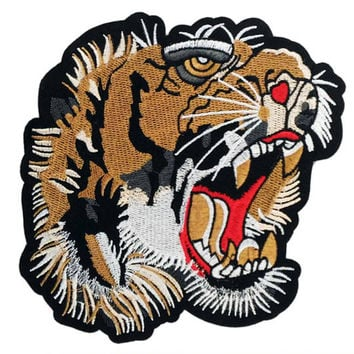 XXL Extra Large 19cm Tiger Head Back Shirt or Jacket Patch Applique