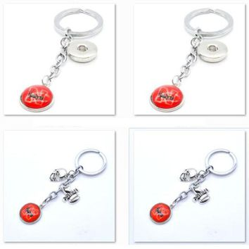 2017 New Football Keychain NCAA Nebraska Cornhuskers Charm Key Chain Car Keyring for Women Men Party Birthday Keyrings Gifts