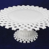 Westmoreland Doric Cake Stand, Vintage Milk Glass Cake Stand, Marked Authentic and Hallmarked