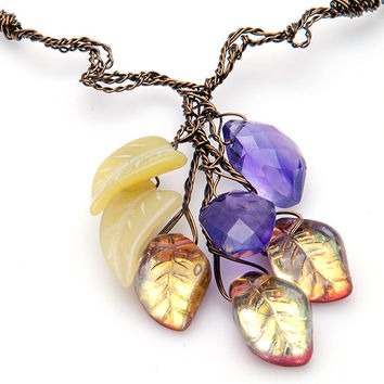 Purple and Green Multi Gemstone Necklace of Jade and Amethyst. Leaf Necklace, Nature Jewelry,  Autumn Jewelry