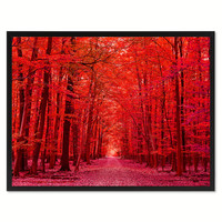 Autumn Road Red Landscape Photo Canvas Print Pictures Frames Home Décor Wall Art Gifts