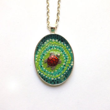 Sea Tutrle, art pendant with necklace, original acrylic painting with turtle bead, mini art, NOT A PRINT