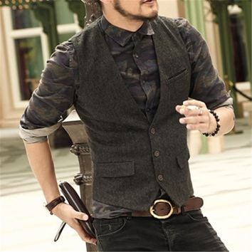 men casual sleeveless jacket coat mens formal waistcoats dress suit vest slim Three button Woolen vest British autumn suit vest