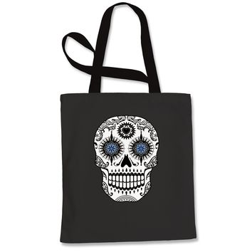 Blue Eyes White Sugar Skull Shopping Tote Bag