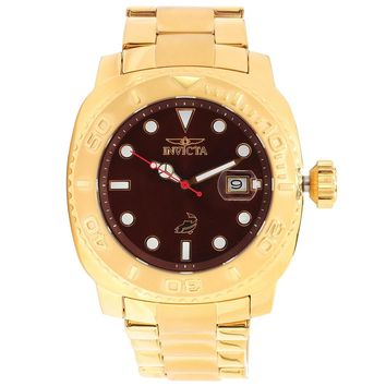 Invicta 14486 Mens Pro Diver Brown Dial Gold Steel Bracelet Automatic Watch