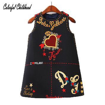 Baby Girls Dresses 2018 Spring New Sleeveless O-neck Toddler Dress lovely Heart through the heart design Children Clothes