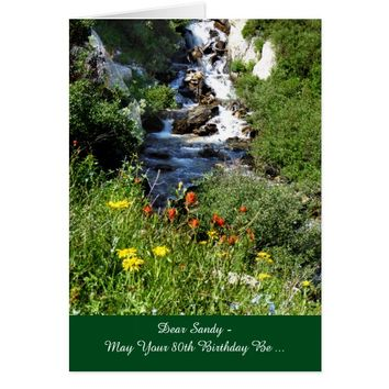 80th Birthday Adventure Waterfall with Wildflowers Card