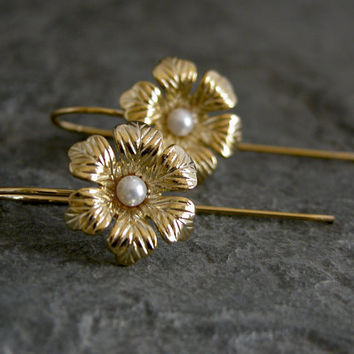 Gold Flower EarringsWedding Gold EarringsAnemone by gazellejewelry
