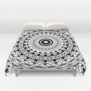 Black and White Mandala Duvet Cover by Sharandra