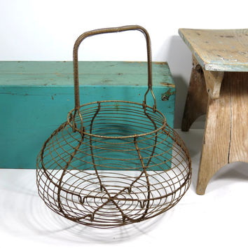 Vintage Wire Egg Basket . French Country Farm Decor . Rustic Egg Gathering Basket