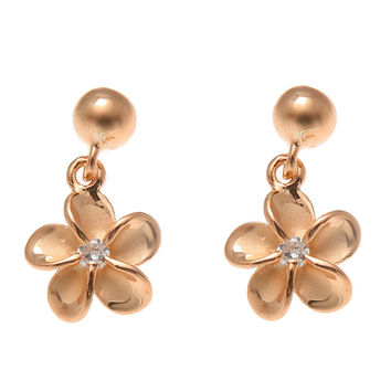 ROSE GOLD ON SILVER 925 BALL DANGLE 8MM HAWAIIAN PLUMERIA FLOWER POST EARRINGS
