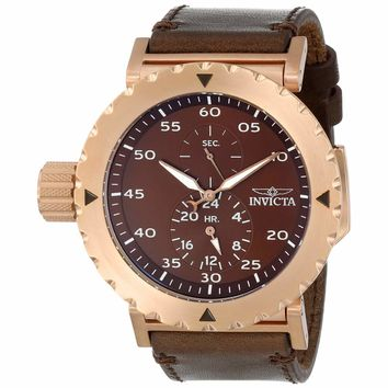 Invicta 14643 Men's I-Force Lefty Brown Dial Rose Gold Steel Brown Leather Strap GMT Watch