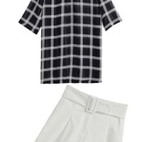 Black and White Plaid Chiffon Top With White Shorts