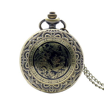 Retro Chinese Style Dragon Phenix Pocket Watch With Necklace Chain Bronze Fob Watch Free Shipping