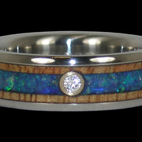 Opal and Wood Diamond Titanium Ring – Hawaii Titanium Rings