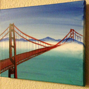 Christmas Golden gate bridge Misty afternoon Ocean decor San Francisco California art Acrylic painting canvas art Souvenir wall decor