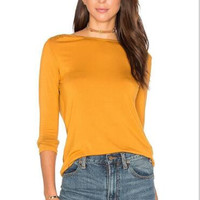Yellow Cut Out Back Loose T-Shirt  12330