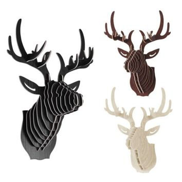 2017 NEW deer Head 3D Puzzle Wooden DIY Model Wall Hanging deer Head elk wood gifts craft Home decoration Animal Wildlife