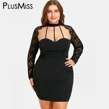 PlusMiss Plus Size 5XL Sexy Black Lace Panel Cut Out Halter Dress Women Bodycon Sheath Sheer Night Party Club Mini Short Dress