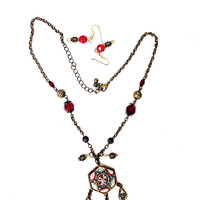 ON SALE Vintage Italian Micro Mosaic Flower Pendant & Dangling Charms- Red Bead Stations-Antique Gold Chain